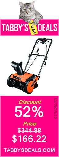 WORX WG650 18-Inch 13 Amp Electric Snow Thrower $166.22