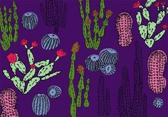 Cacti Garden at Night Giclée Print, by Cat Among the Pigeons via Folksy, £10.00