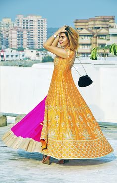 Anita Dongre That's festive and colourful yet elegant! Lehenga skirt and long ethnic jacket