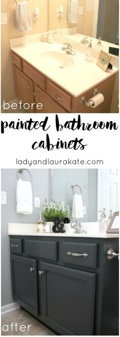 Look Over This DIY painted bathroom cabinets! It's super simple to achieve in this how to with homemade chalk paint! The post DIY painted bathroom cabinets! It's super simple to . Armoires Diy, Painting Bathroom Cabinets, Bathroom Furniture, Painting Countertops, Bathroom Paint Colors, Grey Bathroom Cabinets, Bathroom Interior, Kitchen Furniture, Diy Bathroom Remodel