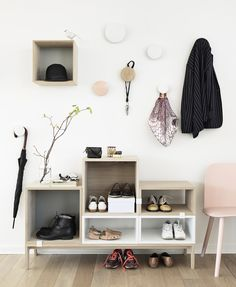 The Muuto Stacked Shelf System Ash Tree/White was designed by Julien De Smedt for acclaimed Scandinavian design house Muuto.This increasingly popular furniture Hallway Inspiration, Interior Inspiration, Design Inspiration, Ikea Valje, Deco Design, Design Case, Foyer Design, Hall Design, Design Blog
