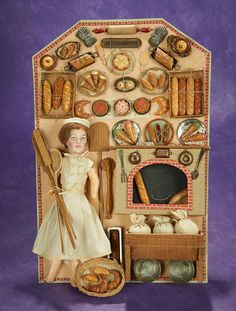 """French Presentation """"Baker with Breads and Pastries"""" on Original Card. Card Basket, Presentation Cards, Vintage Paper Dolls, Old Dolls, Antique Toys, Barbie, Miniature Dolls, Box Art, Doll Accessories"""