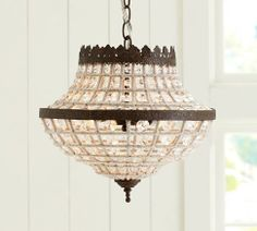 """a pair of these would be amazing!! $225 14"""" diameter, 13.25"""" high  Dalila Crystal Beaded Chandelier, Antique Bronze finish"""