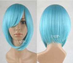 32cm harajuku synthetic Sky Blue short hair anime cosplay costume party wigs for women cosplay wigs  anime Cosplay wigs