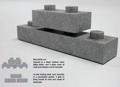 Return Brick Gives Broken Construction Bricks a Lego-like Avatar Concrete Sculpture, Concrete Cement, Legos, Interlocking Concrete Blocks, Brick Architecture, Pavilion Architecture, Sustainable Architecture, Residential Architecture, Sustainable Design