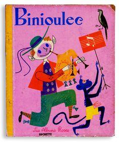 Binioulec Hachette刊 / 1962 / 画Robert Le Pajolec Les albums roses シリーズ。コラージュが混ざったイラストがセンス良く、めちゃくちゃかわいいです。舞台はフランス北西ブルターニュ。ブルターニュ人の男の子ビニュレックが主人公。新しい人生を求めてパリに旅立つのですが、なぜか宇宙に行って…。 A5変形 ハードカバー 24P