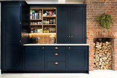 Blue Shaker Kitchen - Bespoke handmade wood kitchens by Maple and Gray Blue Shaker Kitchen, Barn Kitchen, Kitchen Family Rooms, Kitchen Paint, Kitchen Ideas, Kitchen Interior, Kitchen Design, Dark Blue Kitchens, Greenhouse Kitchen