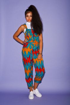 African wax print dungarees by bombesurprise