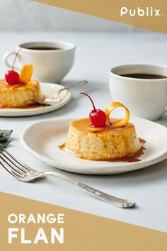 Put a new twist on your Thanksgiving desserts with this Publix Aprons recipe for Orange Flan. Your little ones can even add the finishing touches with a cherry and orange garnish. These individual servings make a sweet pairing with a cup of coffee, and an Köstliche Desserts, Delicious Desserts, Dessert Recipes, Yummy Food, Publix Aprons Recipes, Orange Recipes, Thanksgiving Desserts, Panna Cotta, Making Memories