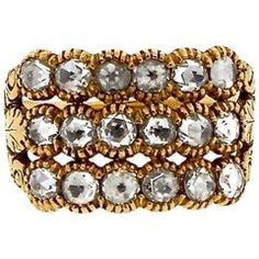 Antique Rose Cut Diamond 18 Karat Gold Half Hoop Engraved Ring