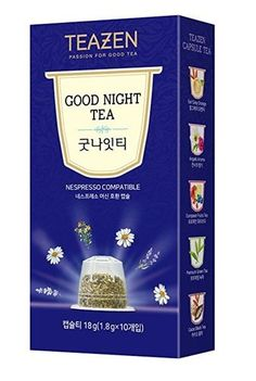 TEAZEN Good Night Capsule Tea for Nespresso Machine, 10-Count Box (10-Count Box ) •COMPATIBILITY •EASY TO DRINK •DEEP AND RICH FLAVOR •ALWAYS SAME FLAVOR AND FRAGRANCE •ENJOY COOL ICED TEA ALL YEAR  #tea #capsule #Nespresso #drinkingtea #aroma #flavor #fragrance #cool #korean #koreanproduct