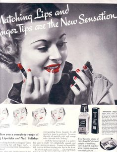 """""""Matching lips and finger tips are the new sensation!"""" Cutex ad from the Vintage Nails, Vintage Makeup, Vintage Glamour, Vintage Beauty, 1930s Makeup, Vintage Fashion, 1930s Fashion, Vintage Vanity, Orange Lipstick"""