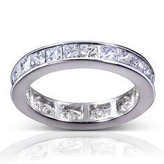 3CT Princess Cut Diamond Full Eternity Ring 14K White Gold Diamond Wedding Ring  | eBay