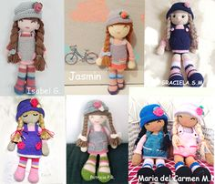 Versiones de la muñeca Anni de anigurumis Crochet Doll Pattern, Crochet Bunny, Crochet Dolls, Free Crochet, Crochet Patterns, Crochet Hats, Amigurumi Tutorial, Frozen Princess, Amigurumi Doll
