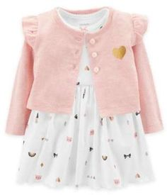 carter's® 2-Piece Jacket and Short Sleeve Bodysuit Dress Set in White #babygirl, #carters, #promotion