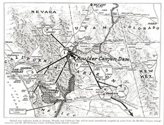 Map of All-American Canal: Imperial Valley CA_Coachella Valley, CA_Gila Project, AZ_Palo Verde Valley, CA_Colorado River Indian Reservation_AZ_Hoover Dam_Herbert Hoover Presidential Library_The National Archives