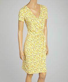 Yellow Floral Surplice Dress by AA Studio #zulily #zulilyfinds