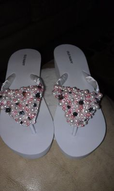 The reception shoes i made. Pink and White different sized pearls and rhinestones