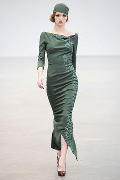 sleek spruce colored vintage look dress