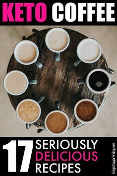 YUMMY keto coffee! You are going to seriously LOVE this list of keto coffee recipes. I've included keto coffee drinks like Keto Crack Coffee, Low Carb Pumpkin Spice Latte, Coconut Almond Mocha.... and even a coffee keto smoothie! Check out the list for al