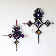 Copper and Cross - one of a kind ojo de dios gods eye wall hanging