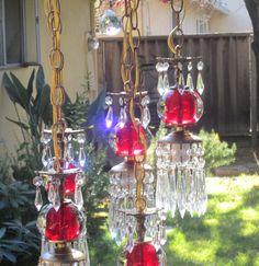 5lte Vintage cranberry ruby Brass hanging swag lamp chandelier Hollywood Regency $567