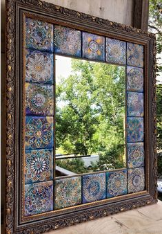 Creative Wall Decor, Wall Decor Design, Indian Home Interior, Indian Home Decor, Glass Photography, Pattern And Decoration, Tile Crafts, Bohemian Bedroom Decor, Mirror Painting