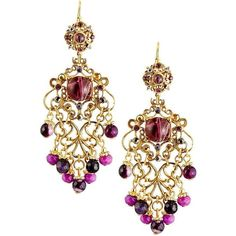 Jose & Maria Barrera Multihued Filigree Chandelier Earrings ($201) ❤ liked on Polyvore featuring jewelry, earrings, purple, 24k earrings, 24-karat gold jewelry, jose maria barrera jewelry, earring jewelry and 24k jewelry