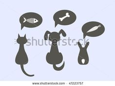 Silhouettes of a cat, dog and the rabbit, dreaming of tasty food, vector illustration by Faniell, via ShutterStock