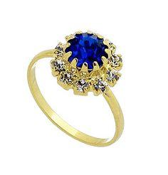 Anel folheado a ouro c/ strass azul safira rodeado por pedras de strass na cor cristal