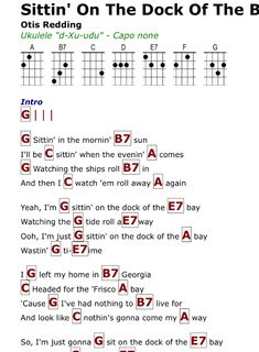Sittin' on the Dock of the Bay ukulele chords Guitar Chords And Lyrics, Easy Guitar Songs, Guitar Chords For Songs, Uke Songs, Guitar Sheet Music, Guitar Lessons, Ukulele Songs Beginner, Great Song Lyrics, Kalimba