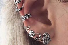 Boho Tribal Ear Piercing Ideas All Around Earrings - Barque Tribal Antiqued Silver Ear Cuff & Earring 8 Pieces Set at MyBodiArt.com