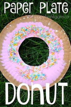 """Make a paper plate donut craft, complete with colourful icing and """"sprinkles"""". Great letter """"D"""" craft for toddlers and preschoolers."""