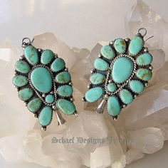 Turquoise cluster Native American earrings at Schaef Designs Jewelry