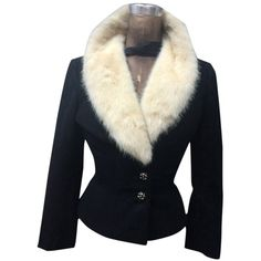 Pre-owned 1960's Mink Black Blazer ($459) ❤ liked on Polyvore featuring outerwear, jackets, blazers, black, vintage black jacket, vintage jacket, vintage blazer, blazer jacket i mink jacket