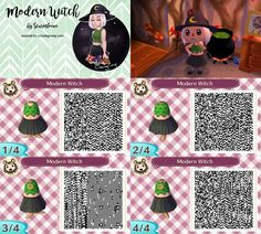 animal crossing new leaf qr code cute modern witch dress outfit black and green acnl inspired idea by crossingcreep design by sturmloewe