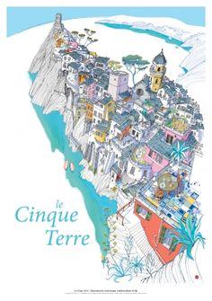 Le cinque Terre - Liguria - Italy travel poster #5Terre #essenzadiriviera.com
