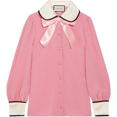 Gucci Faux pearl and bow-embellished silk crepe de chine shirt ($1,025) ❤ liked on Polyvore featuring tops, shirts, gucci, blouses, red silk shirt, pink top, embellished top, polka dot shirt and pink polka dot shirt