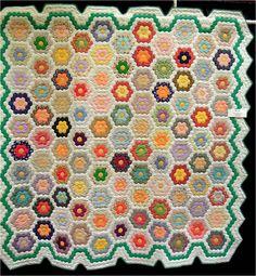 Quilt Inspiration: Grandmother's Flower Garden. Vintage Green Garden Border quilt exhibited by Cynthia Lynn, 2013 AZQG