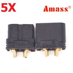 5 Pair Amass XT60U 3.5mm Banana Plug Connector Black Male & Female