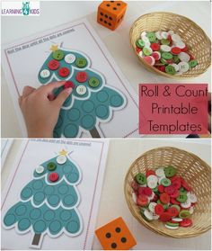 A pinner said Roll and count printable templates - christmas theme counting and subitising activity Christmas Printable Activities, Christmas Activities For Kids, Christmas Projects, Kids Crafts, Preschool Crafts, Holiday Themes, Christmas Themes, Holiday Fun, Theme Noel