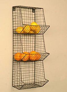 Primitive Farmhouse Chicken Wire Wall Basket Fruit Vegetable Bin Shelf Cubby   #Country
