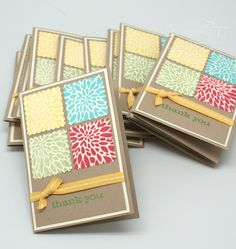 Easy card to use up scraps, but needs one square as a focal point.  Maybe a button or some other embellishment.