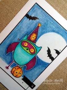 By the Light of the Moon, www.mischellesmith.com, ctmh, close to my heart, owl, what a hoot,halloween, bats, moonlight, clean and simple, colored pencils, http://www.mischellesmith.com/blog/164-by-the-light-of-the-moon