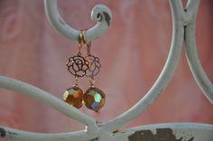 Crea Copine Collection - Earrings with rosé and crystal beads - Unique and handmade - Ordernumber CC-14-050 (Oorringen met rosé en kristallen kralen - Uniek en handgemaakt - Bestelcode CC-14-050) - 10 euro + shipping costs