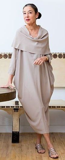 Linen cocoon dress with cowl