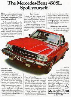 Mercedes 1975 450SL Car Advert