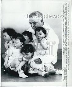 1970 Press Photo of 1932 photo of Dionne Quintuplets on 1st birthday