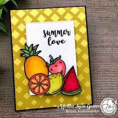 Posted @withregram • @stampartpapel Summer is around the corner! Time for beach, fruits 🍉 and margaritas with friends!!! Take a look 👀 of my card and keep an 👁 in your mail to celebrate 🎉 together !  Life is sweet is the name of this stamp set from Joy Clair Designs @joyclairstamps. My images were colored with my favorites, Illustrator Markers from @spectrumnoir. See you soon! • • #clearstamps #joyclairstamps #joyclairdesigns #crafts #scrap #papercrafts #papercrafting #papercrafter… Summer Of Love, Clear Stamps, My Images, I Card, Markers, Illustrator, Scrap, Corner, Paper Crafts