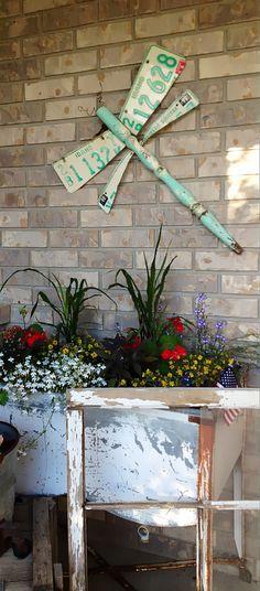 Shabby Chic Dragonfly Garden Art Turquoise by theshabbyfarmchic, $55.00